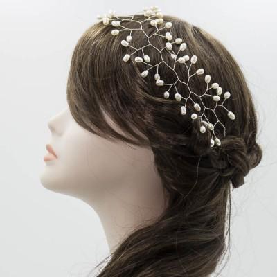 Tiara de perlas para novia hecha a mano